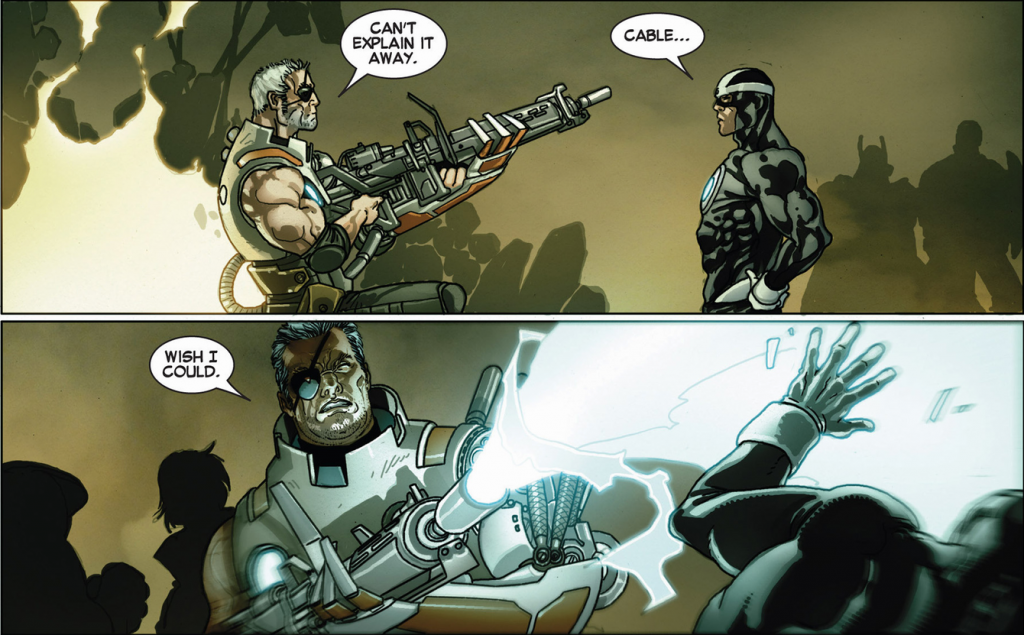 Pictured: Cable blasting his uncle Havok, leader of the Uncanny Avengers, in the face