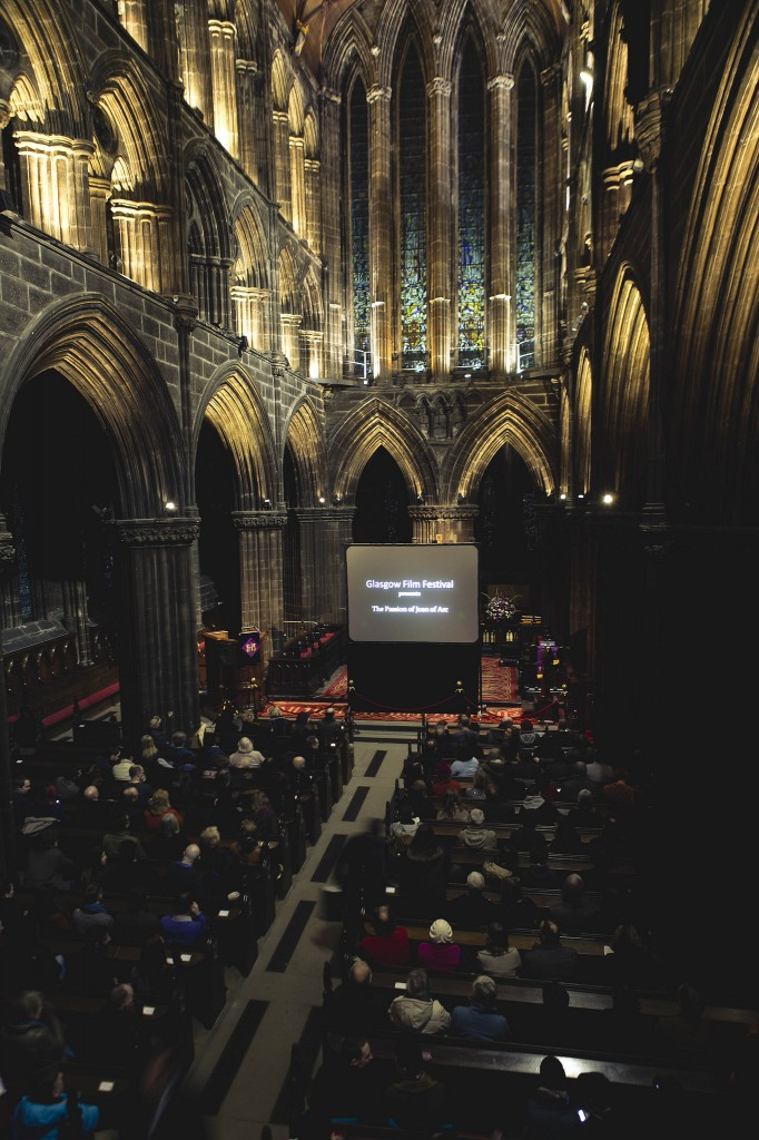 Pop up cinema event in Glasgow Cathedral by Eoin Carey