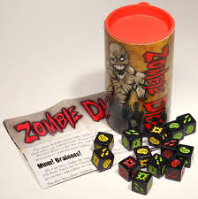 The physical 'Zombie Dice' game by Steve Jackson
