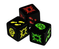 The 3 types of dice, green easy, yellow medium, red hard