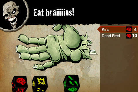The main game screen of  the Zombie Dice app