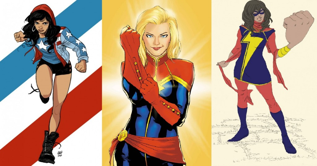 L-R: Miss America, Captain Marvel, Ms Marvel (C) Marvel Comics