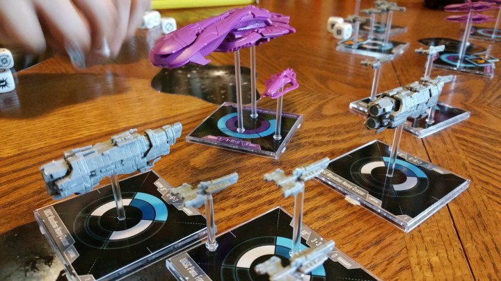 The UNSC fleet converges, combining their fire for maximum damage. While a Covenant Battlecruiser swoops in with it's Plasma Beam sweeping through multiple targets.
