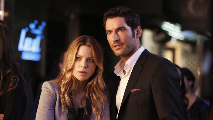 "LUCIFER: L-R: Lauren German and Tom Ellis in the ""Lucifer, Stay. Good Devil"" episode of LUCIFER airing Monday, Feb. 1 (9:00-10:00 PM ET/PT) on FOX. ©2016 Fox Broadcasting Co. CR: Bettina Strauss/FOX"