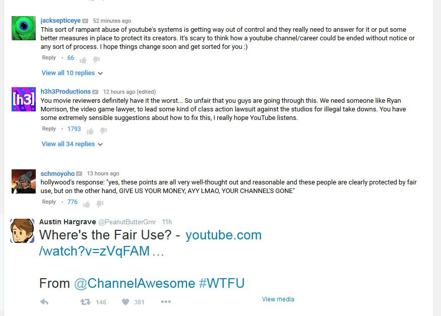 Comments and Support for Doug's video from other prominent Youtubers