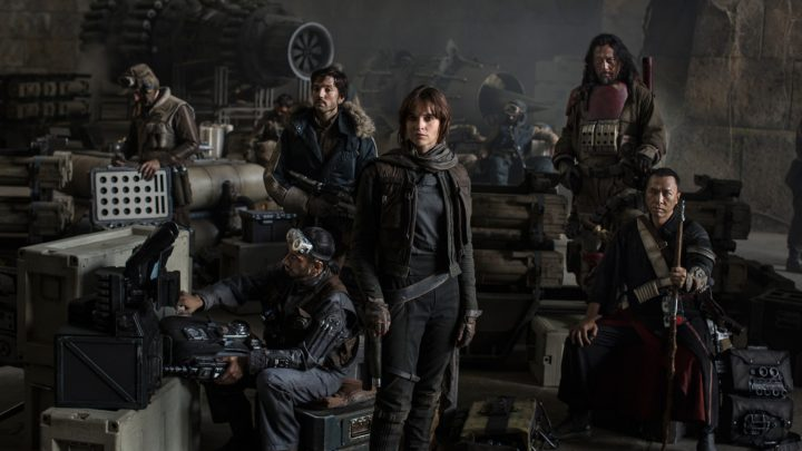 Cast of Rogue One. Note the R2-D2 hiding in the background!